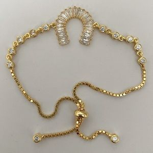 🐎 925 silver bracelet horse shoe crescent slider
